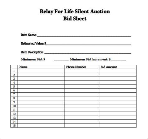 silent auction bid sheet templates creative template creative