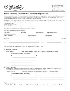unofficial transcript template kaplan transcripts fill printable
