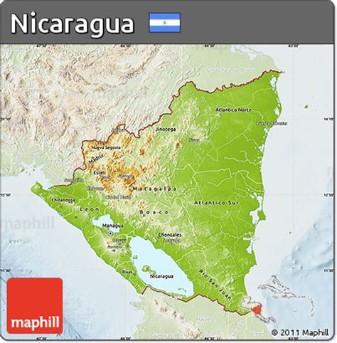physical map of nicaragua free physical map of nicaragua lighten