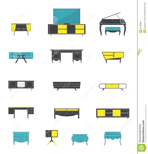 flat design icon house icon set of home and office furniture interior in flat