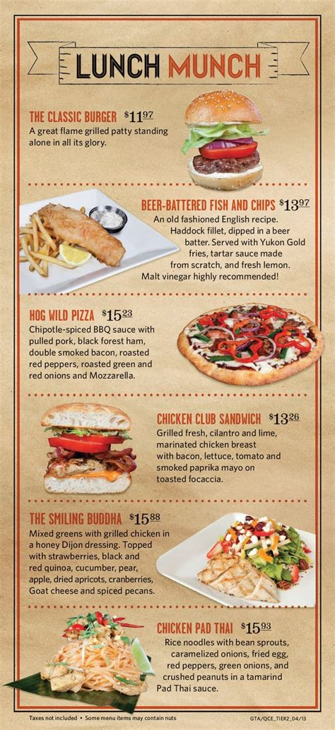 layout of a restaurant menu jack astor s lunch menu menu design pinterest
