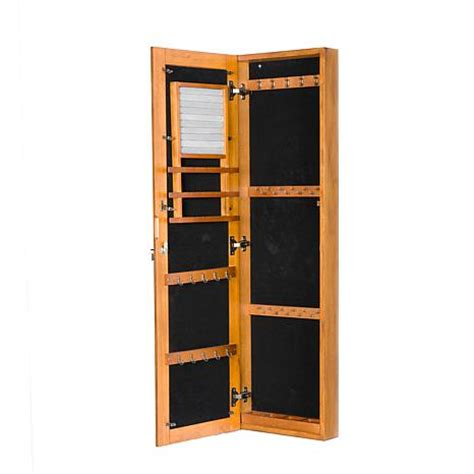 hsn hanging jewelry armoire wall mount jewelry mirror oak 6221940 hsn