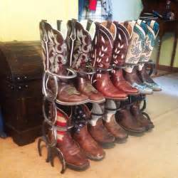 Boot Rack Made Out Of Horseshoes by Boot Rack Holds 6pairs If Boots These Boots Are Made