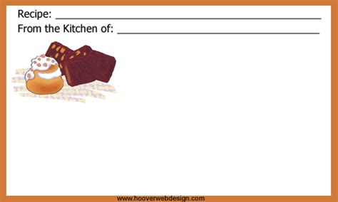 baking cards templates free recipe cards templates
