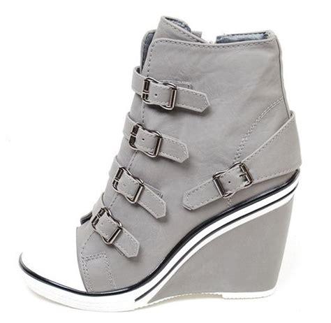 wedge high heel high top sneakers tennis shoes ankle