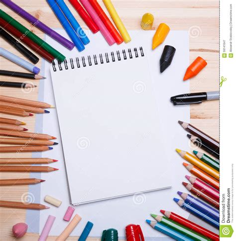 Crafts With Paper And Markers - drawing materials stock photo image 59141647