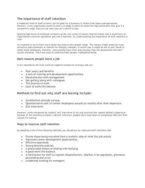 turnover letter templates employee retention