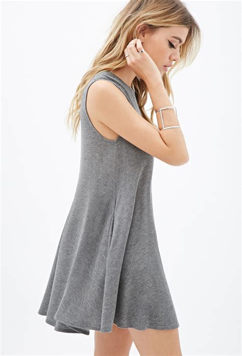 Gray Back Dress U221 forever 21 cutout back trapeze dress in gray lyst
