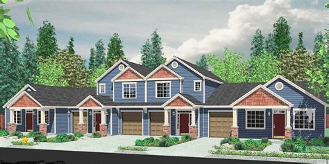 multi level house plans 4 plex house plans multiplexes quadplex plans