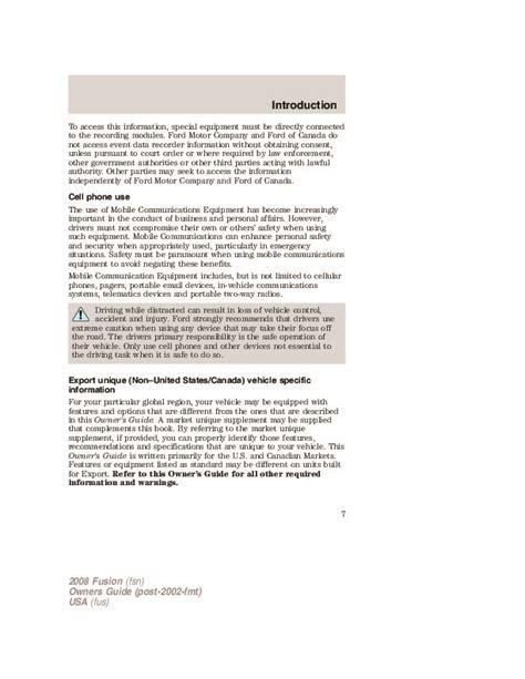 vehicle repair manual 2008 ford fusion user handbook 2008 ford fusion owners manual