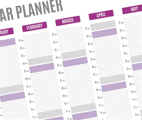 Year Planner 2019 Template Printable Pdf Wall Agenda 2019 Planner Template