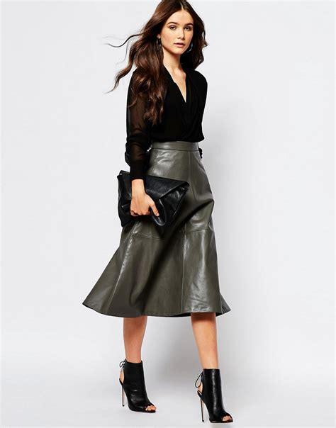 mango mango a line midi faux leather skirt at asos