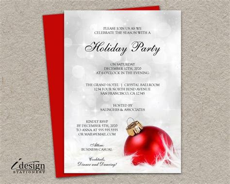 personalized christmas invitation with a red ornament