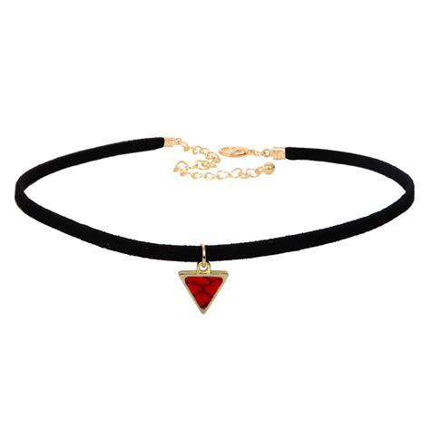 Choker Triangle Velvet Black velvet choker necklaces with triangle faux necklacehub