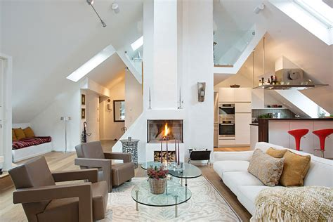 contemporary fireplace loft apartment in kungsholmen