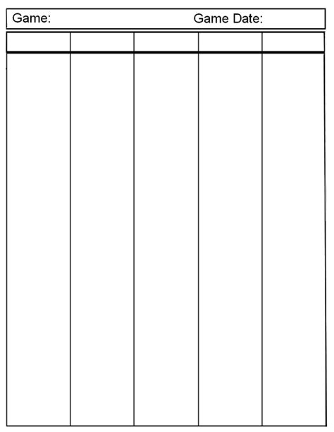template 1 column sheet printable charts templates forms