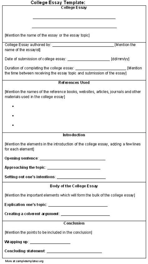 College Application Essay Template College Essay Format Template