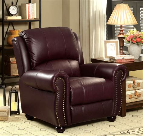 burgundy leather sofa nailhead trim carlton traditional burgundy chair in top grain leather