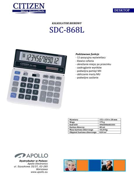 Kalkulator Citizen Sdc 868l Atk kalkulator biurowy sdc 868l citizen hurtownia