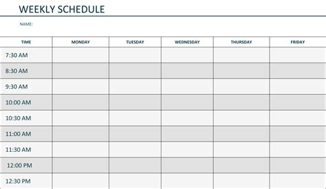 weekly daily schedule template weekly schedule template