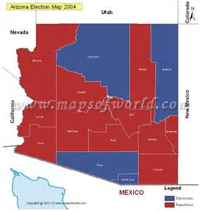 arizona election results map 2004 vs 2008 us election