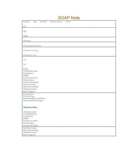 free soap note template 40 fantastic soap note exles templates ᐅ template lab