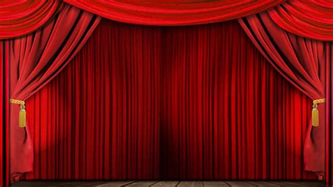 open stage curtains opening red theatrical curtain with spotlights realistic