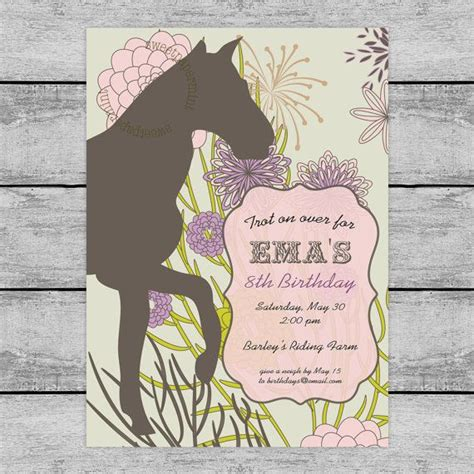 printable birthday cards with horses equestrian horse old west invitation card printable