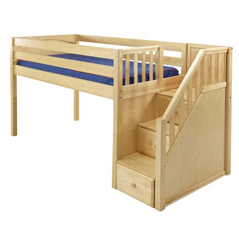 maxtrix great playhouse loft bed  natural  stairs