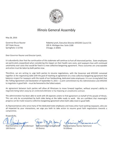 Union Letter Of Agreement illinois state representative c d davidsmeyer