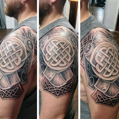 shoulder shield tattoo celtic style colored shoulder of medium armor