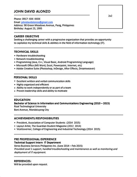 Sample Resume Format for Fresh Graduates (One Page Format