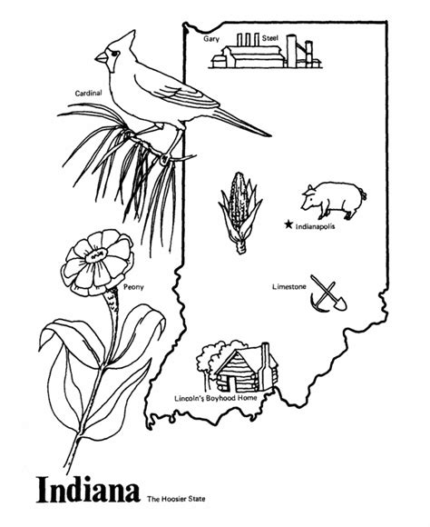 indiana history coloring pages indiana state outline coloring page copy the image and