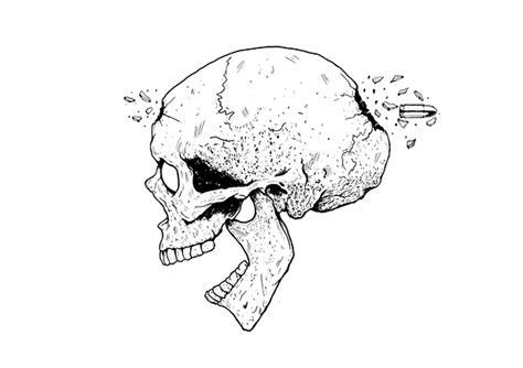 Skull Bullet Drawing Skull With Bullet
