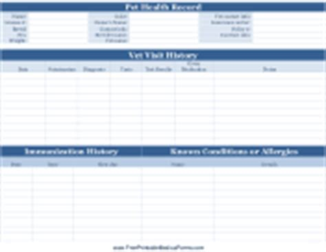 Veterinary And Animal Forms Pet Health Record Template Excel