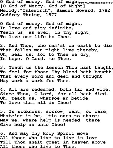 lyrics of mercy song lyrics for o god of mercy god of might