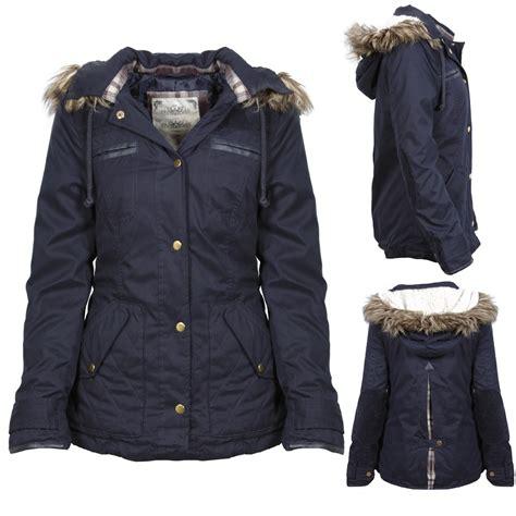 New Endia Jaket Navy new womens navy blue button up parka jacket coat fur trim size 8 16 ebay