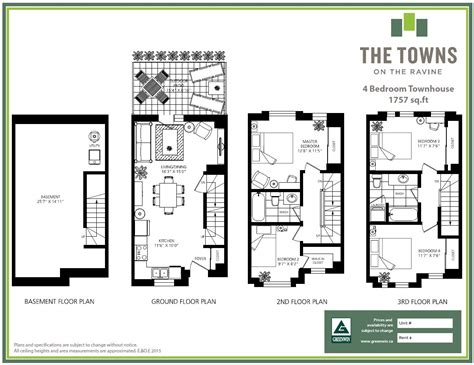 3 bedroom townhouse floor plans the towns on the ravine greenwin