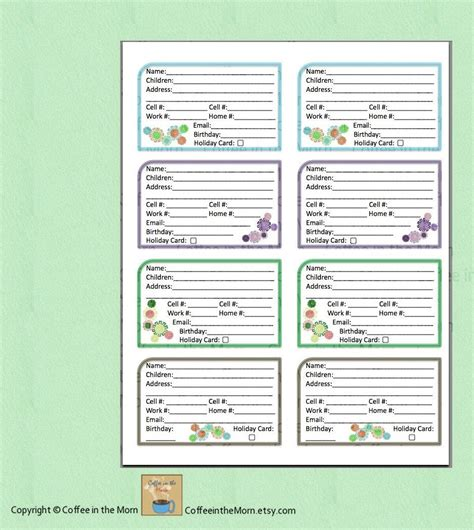 family contact list template address book contact list pdf printable digital