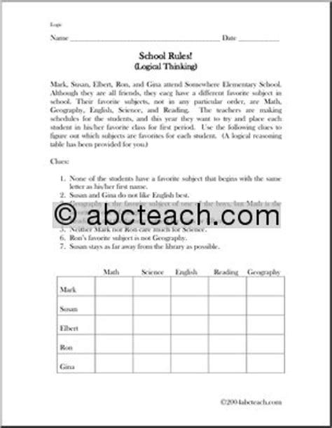 school basics a preview of school and reasoning books logic puzzle 2 school abcteach