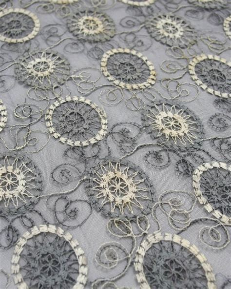 embroidered fabrics embroidered tulle fabric circles in grey truro fabrics