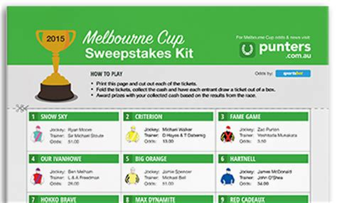Melbourne Cup Sweepstake Kit - printable 2016 melbourne cup sweep punters com au