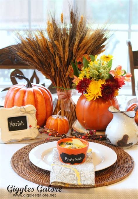fall table setting party idea carved pumpkin flower vase