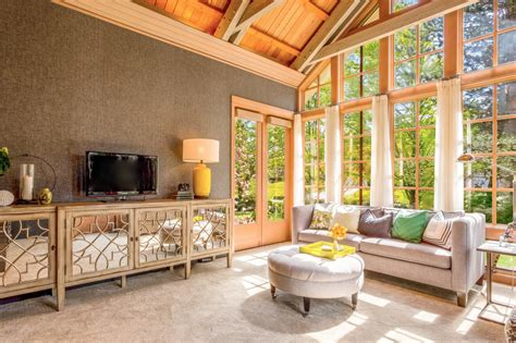 Great Rooms With Vaulted Ceilings by Beautiful Gray Great Room With Vaulted Wood Ceiling Harmony Weihs Hgtv