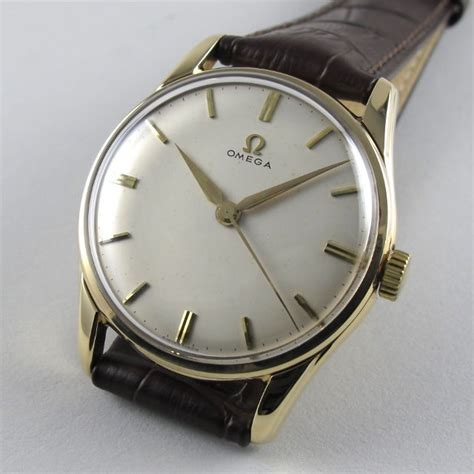gold omega vintage wristwatch hallmarked 1959 black