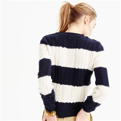 Loly Sweater j crew cable sweater in stripe in blue lyst