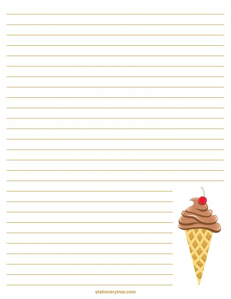 Printable Ice Cream Writing Paper | printable ice cream stationery and writing paper free pdf