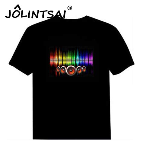 Quality Equalizer T Shirt sale sound activated led cotton t shirt light up and equalizer el t shirt