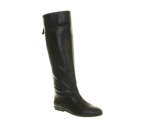 womens office ariel back zip black leather boots ebay