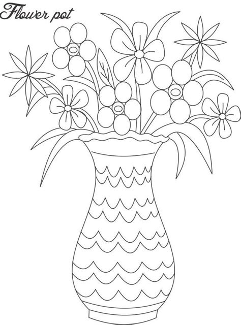 coloring pictures of flowers in a pot flower pot coloring page coloring home